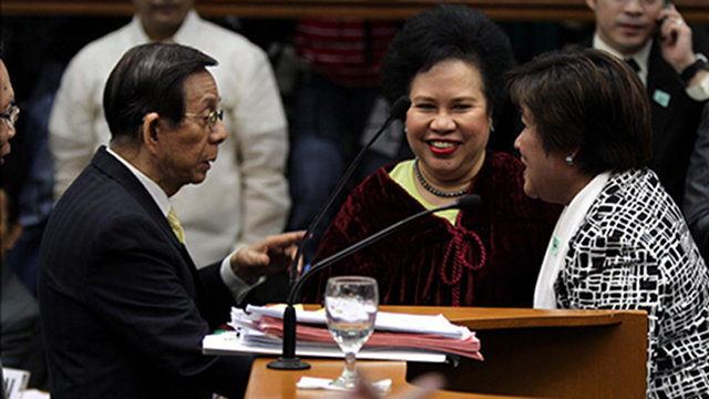 RAISED EYEBROWS. Senator Miriam Defensor Santiago says De Lima's defiance of an SCO TRO will make her bid to be Chief Justice difficult. File photo by Senate pool