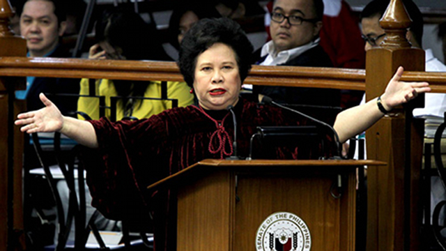 FEAR NOT. Senator Miriam Defensor Santiago urges re-electionist senators to vote for the RH bill and not worry about the so-called Catholic vote. File photo from Senate website