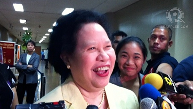 'I'M A HAWK.' Sen Miriam Defensor Santiago says Chinese passports bearing a map of disputed territories must be rejected for being an act of aggression. Photo by Ayee Macaraig