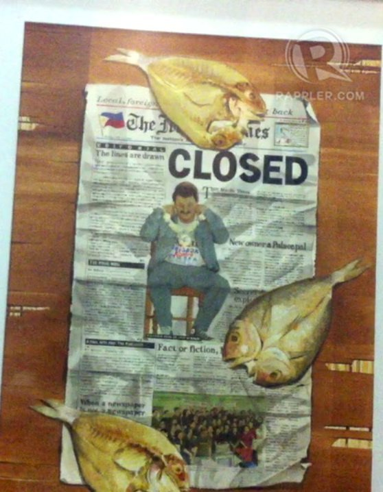 NEWSPAPER. An artwork featuring the front page of the Manila Times when it was closed during the Estrada administration. Photo by Ayee Macaraig.