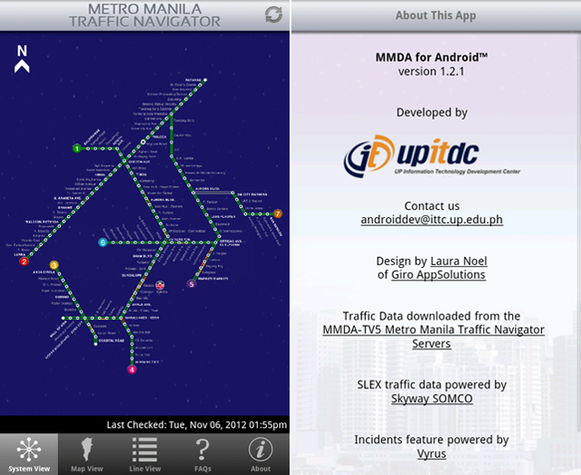 SYSTEM VIEW. Overall traffic status via System View and learn about the app in this pair of screenshots.