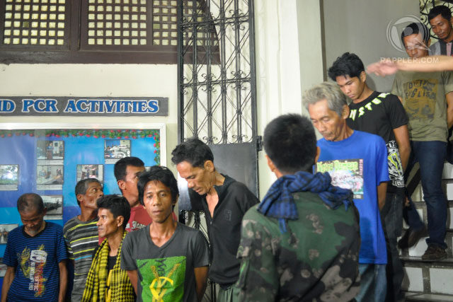 'TIRED ANG HUNGRY': This batch of 15 MNLF rebels surrendered to combined forces of military and police on September 19. Photo by LeAnne Jazul