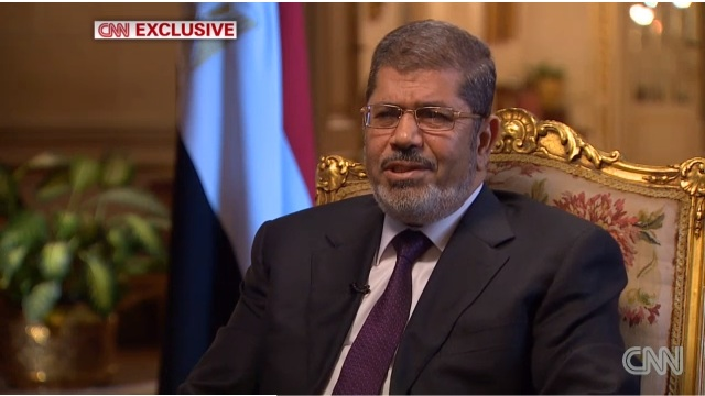 Egyptian President Mohamed Morsi speaking during an interview with CNN, January 6, 2012. Frame grab courtesy of CNN.