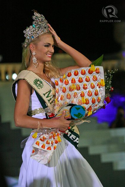 Miss Czech Republic Tereza Fajksova after being declared Miss Earth 2012