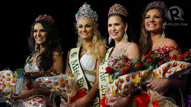 From left: Miss Earth Fire (3rd runner up) Miss Brazil Camila Brant; Miss Earth 2012 Miss Czech Republic Tereza Fajksova; Miss Earth Air (1st runner up) Stephany Dianne Stefanowitz; and Miss Earth Water (2nd runner up) Miss Venezuela Osmariel Villalobos. All photos by Manman Dejeto