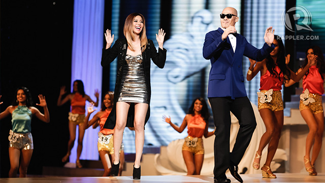 Event hosts Bianca Valerio and Rovilson Fernandez opened the night by dancing 'Gangnam Style' with the candidates