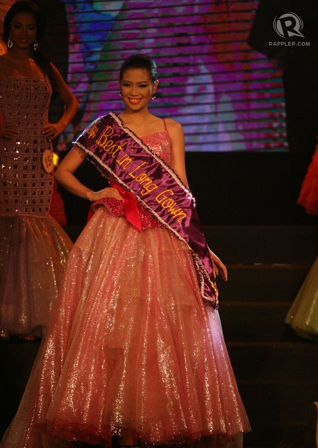 BELLE OF THE BALL. Mutya 11 Marichat Evaristo wins the Evening Gown