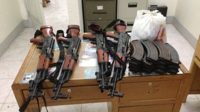 SMUGGLED. These AK-47s are supposedly meant for the New People's Army. Photo courtesy of the Philippine Army