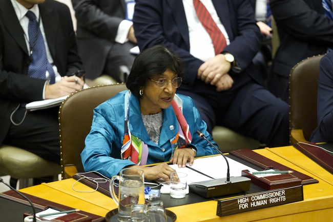 Navi Pillay, United Nations High Commissioner for Human Rights, addresses the Security Council open debate on protection of civilians in armed conflict, 12 February 2013, at the United Nations, New York. UN Photo/Rick Bajornas