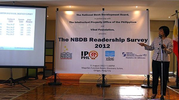 LINDA LUZ B. GUERRERO, VP and COO of Social Weather Stations (SWS) presents the results of the National Book Development Board (NBDB) Readership Survey