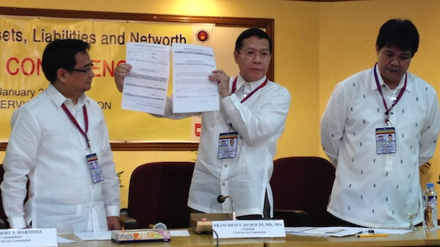 SALN FORMS. (From left) Civil Service Commission (CSC) Commissioner Robert Martinez, CSC Chairman Franscico Duque, and CSC Asst Commissioner Ariel Ronquillo