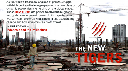 NEW TIGERS. A member of the Dow Jones' Consumer Media Group, MarketWatch said the Philippines and Indonesia will be the next tiger economies. The countries would follow in the footsteps of other Asian tiger economies, including Japan, Singapore, Taiwan and Hong Kong. Screenshot of the special report on www.marketwatch.com.