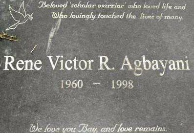 THIS YEAR's VISIT. A photo of Rene's tombstone in Cagayan de Oro taken today, November 1, 2012. Photo courtesy of Claire Agbayani