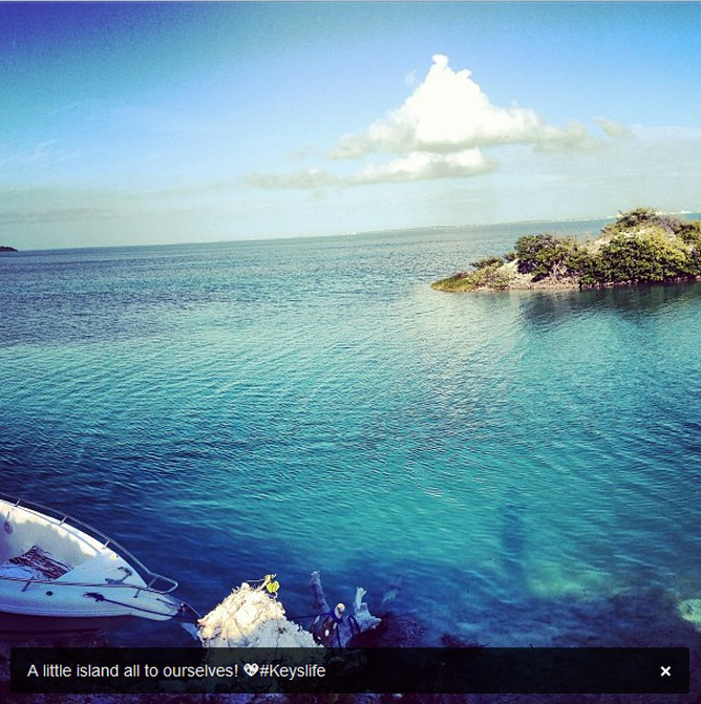 ENGAGEMENT ISLAND. Lauren's shot of the island where Nick proposed. Photo from Lauren Kitt's Instagram