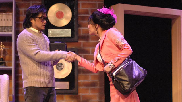 MATCH MADE IN MUSIC. Vernon (Lorenz Martinez) meets kooky Sonia (Nikki Gil). Photo from the 9 Works Theatrical Facebook page