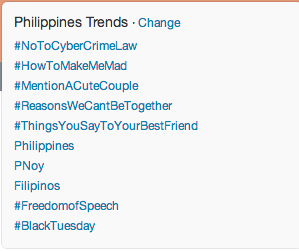 #NoToCyberCrimeLaw trends on Twitter.