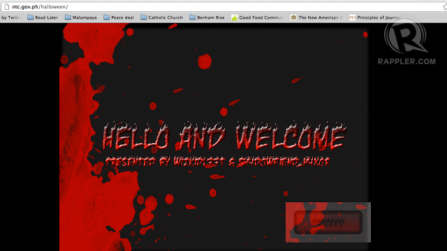 HOLIDAY SURPRISE. Hackers deface the NTC website. Screen grab from ntc.gov.ph