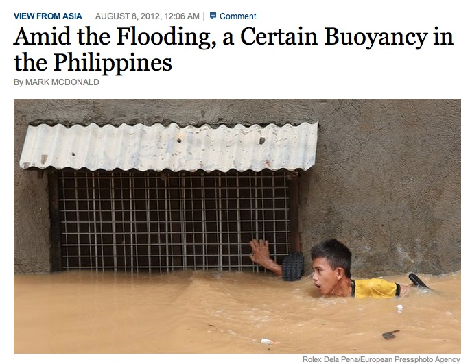 A screenshot of the New York Times blog on the floods in Manila