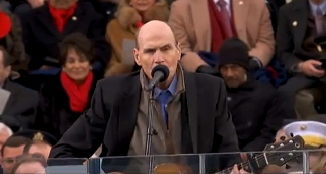 'AMERICA THE BEAUTIFUL.' James Taylor goes acoustic with his touching rendition of the song. Screen grab from YouTube (ABCNews)