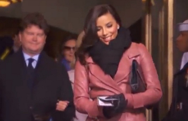 FULL-ON OBAMA SUPPORTER. Eva Longoria makes an appearance at the inauguration. Screen grab from YouTube (agendaviews)