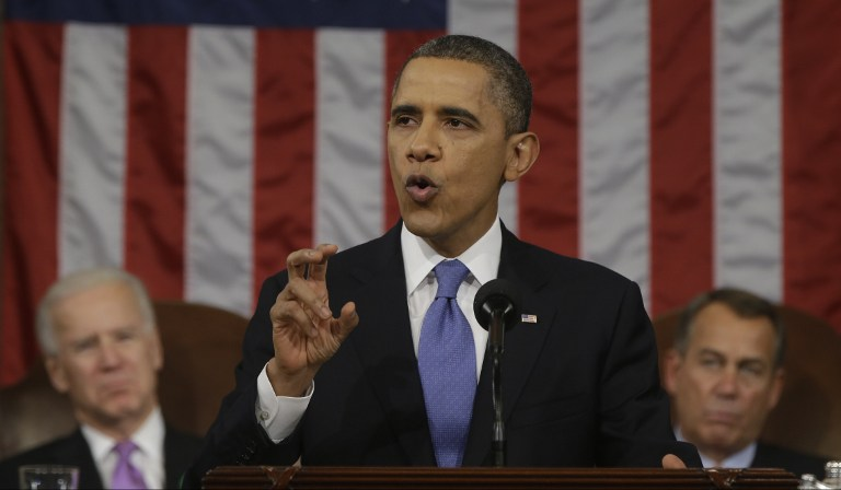 'STRONGER UNION' US President Barack Obama delivers the State of the Union address before a joint session of Congress on Capitol Hill in Washington, Tuesday Feb. 12, 2013. AFP PHOTO / Pool / Charles Dharapak