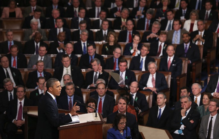 FACING AMERICA. U.S. President Barack Obama delivers his State of the Union speech before a joint session of Congress at the U.S. Capitol February 12, 2013 in Washington, DC. Alex Wong/Getty Images/AFP