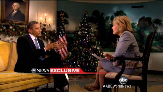 US President Barack Obama speaks to Barbara Walters in an interview in the White House, December 11, 2012. Frame grab courtesy of ABC News.