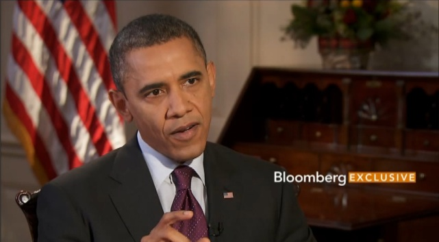 US President Barack Obama speaking during an interview with Bloomberg Television, posted on the news organization's site December 4, 2012. Frame grab courtesy of Bloomberg Television.