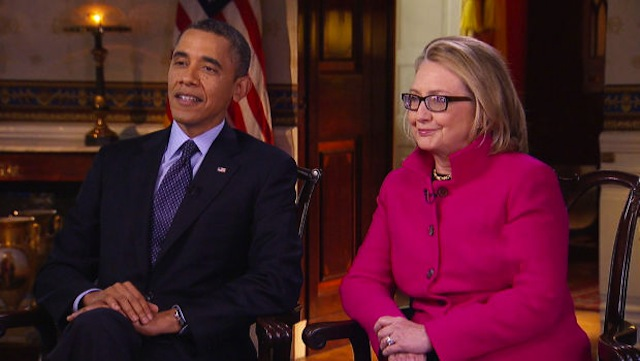 DYNAMIC DUO. US President Barack Obama and Secretary of State Hillary Clinton during a joint interview with CBS News's Steve Kroft, aired January 27, 2013, on CBS. Photo courtesy of CBS.