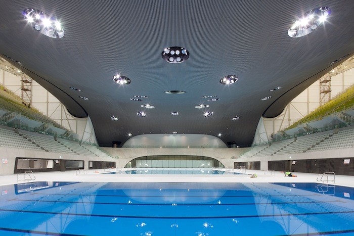 SWIMMERS' TERRITORY. The Aquatics Center at the London Olympics. Courtesy of LOCOG.
