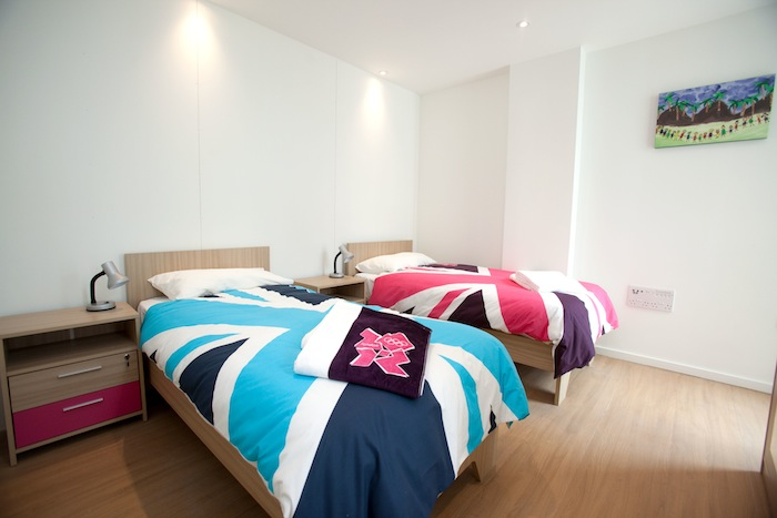 OLYMPIC VILLAGE APARTMENT. View of the first completed athletes' apartment in the Olympic Village. Courtesy of LOCOG.