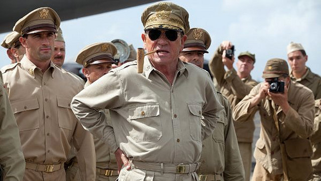 "HE SHALL RETURN. Tommy Lee Jones depicts Gen. MacArthur in ""Emperor"" Photo by Lionsgate"