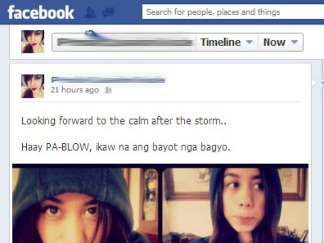 CEBUANO HUMOR. Netizens joke about Typhoon Pablo's arrival in Cebu. Screengrab from Facebook.