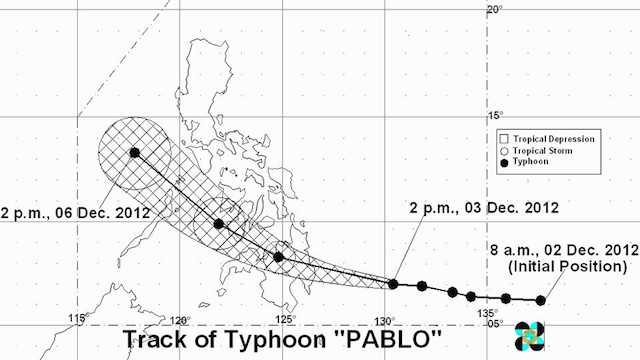 TRACKING 'PABLO'. This is the typhoon's expected trajectory as of 2pm. Image courtesy of PAGASA
