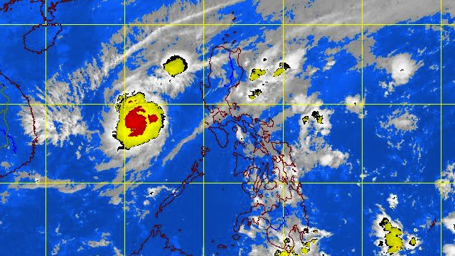 "LOOMING WEST OF MINDORO. Now tropical storm ""Pablo"" is moving away from the Philippines. Satellite image courtesy of PAGASA"
