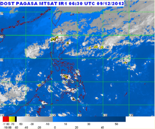MTSAT ENHANCED-IR Satellite Image 6:30 p.m., 09 December 2012