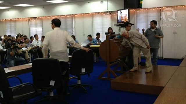 CLERICAL ERROR. Comelec Chair Sixto Brillantes Jr refuses to validate the results of the party-list raffle on Friday. Photo by Paterno Esmaquel II