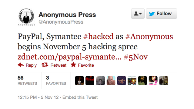 HACKED. Anonymous announces hackings of various sites worldwide.
