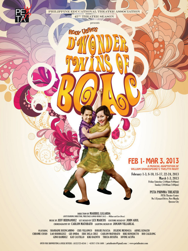 BRECHTIAN THEATER DELIVERED. PETA'S 'D Wonder Twins of Boac' subversively incites audiences into introspection and action even as it makes them laugh and sing. Poster courtesy of Rome Jorge