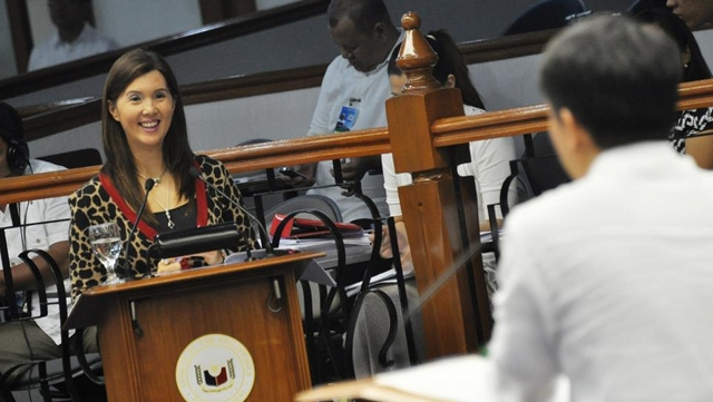 DEBATES OVER. Sen Pia Cayetano responds to questions from Sen Koko Pimentel on the RH bill. He was one of the last to interpellate the sponsor on the measure. Photo from Senate website