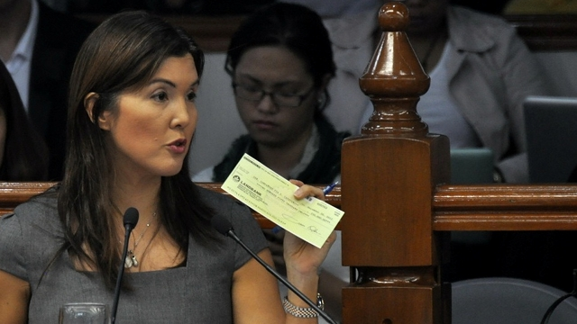 WHY EXCLUDE ME? Sen Pia Cayetano says she can only surmise Enrile excluded her from additional Senate funds because of her stand on the RH and sin tax laws. Photo from Cayetano's office