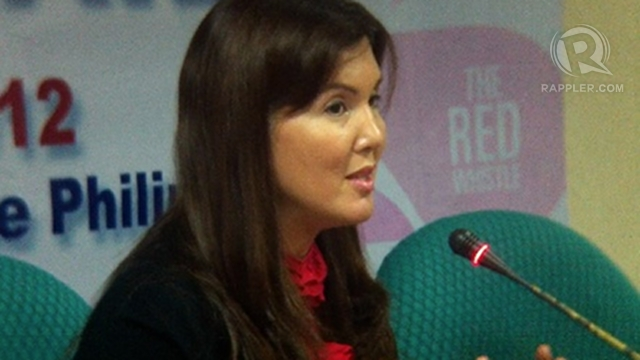 'UMBRELLA BILL.' Sen Pia Cayetano says the RH bill is the &quot;umbrella bill&quot; for health that will help fight HIV/AIDS. Photo by Ayee Macaraig 