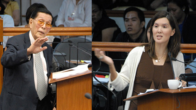 NEW CLASH. Senate President Juan Ponce Enrile and Sen Pia Cayetano again clash on the RH bill. Cayetano asks Enrile to be ready for his amendments but the Senate President said he cannot be compelled to do so. File photo by Joe Arazas/Senate PRIB