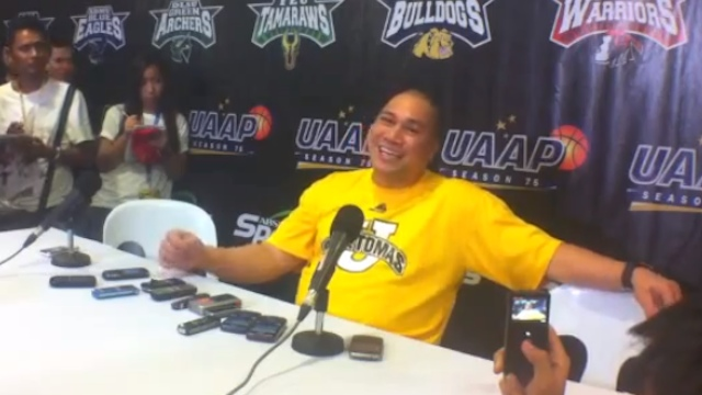 STAYING AT UST. Pido Jarencio during the UAAP Season 75 post-game press conference. Screenshot from video footage by Adrian Portugal