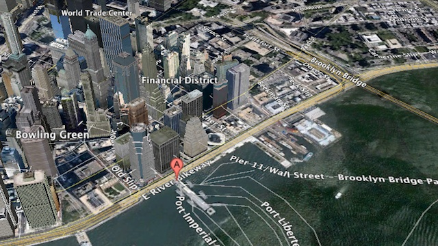 NEAR WALL STREET. 3D satellite image of Manhattan's Pier 11 from Google Maps