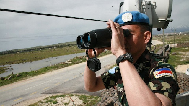 UN PEACEKEEPERS. File photo of a Filipino peacekeeper in the Golan Heights, Syria courtesy of Elmer Cato