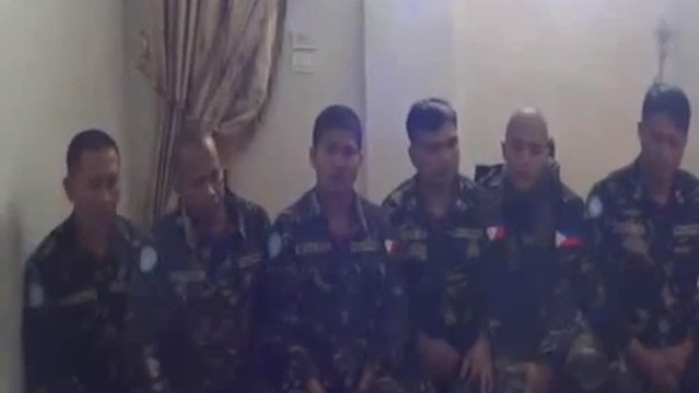 FILIPINOS KIDNAPPED. Screen grab of the video posted on YouTube by the Syrian Observatory for Human Rights showing 6 of the 21 Filipino peacekeepers seized in the Golan Heights by Syrian rebels