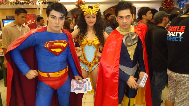 'Pinoy Superman' Herbert Chavez, 'Horsalinda' Janet Manino and 'Captain Barbel' Ken Mendoza