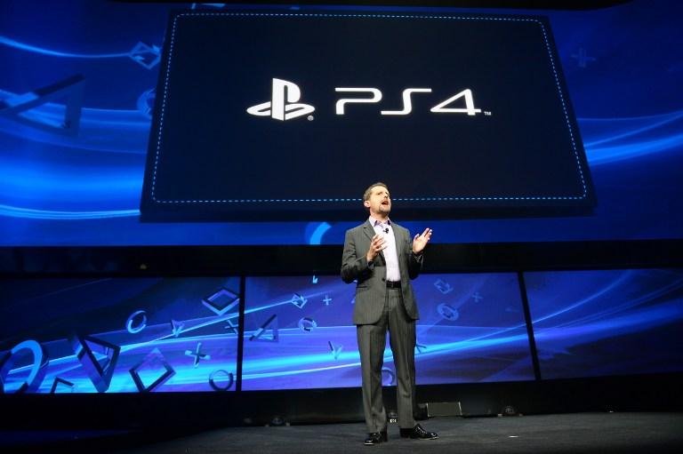 HELLO, PS4. Sony's Andrew House, current president and Group CEO of Sony Computer Entertainment, introduces the PlayStation 4 at a news conference February 20, 2013 in New York. AFP PHOTO/EMMANUEL DUNAND