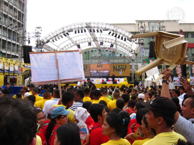 SOLD OUT. The crowd swells at the Team PNOY proclamation rally at Plaza Miranda. Supporters are identified by the different colored shirts they were. All photos by Zak Yuson